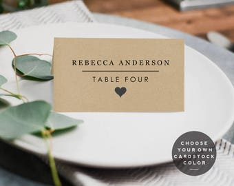 Wedding Place Cards Template, Wedding Place Card Printable Template, Flat Place Cards, Wedding Seating Cards, Digital Download