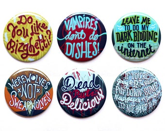 """What We Do In The Shadows Buttons    Werewolves Not Swearwolves Buttons   Vampires and Werewolves Set of Six Buttons   2"""" Pinback Buttons"""