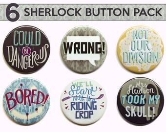 "Sherlock Buttons  | Set of Six 2"" Pinback Buttons | Sherlock Pinback Button"