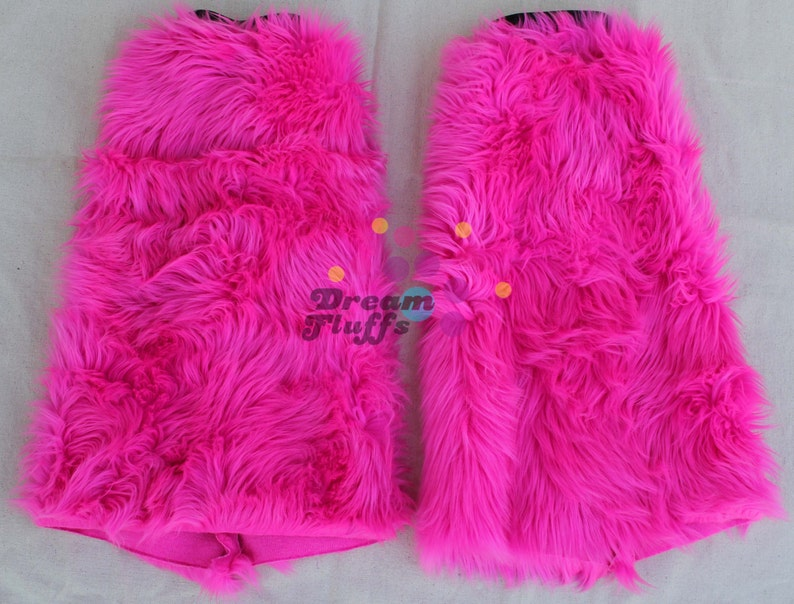 UV pink lilac stripe rave fluffies furry boot covers fluffy legwarmers furries