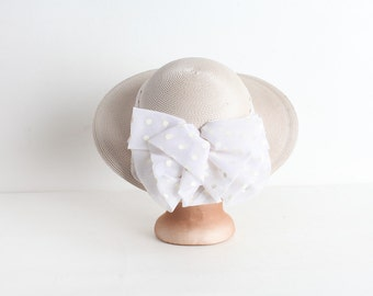 Vintage Ivory Derby Hat With Polka Dot Bow