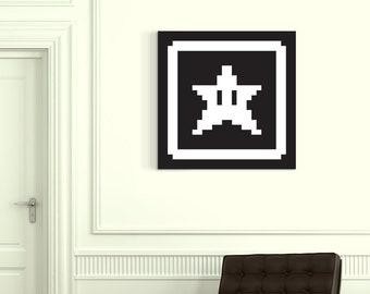 Star Card Canvas Art Super Mario Bros 3 Pixel Art Black and White Star Art Nintendo Art NES Art 8-Bit Art SMB Fire Flower Mushroom