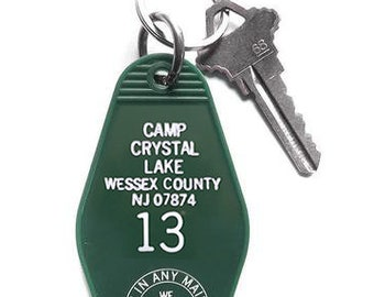 Camp Crystal Lake Key Tag Friday the 13th Keychain Jason Voorhees Cabin Motel Key Fob