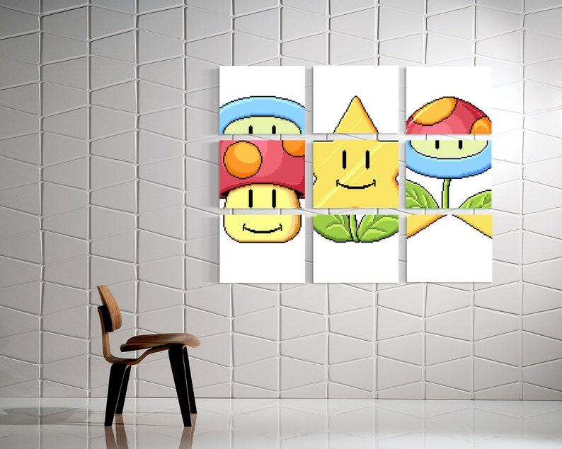 34fd99dd10f94 Mario Match Canvas Art Super Mario Bros 3 Mario Mini Game   Etsy