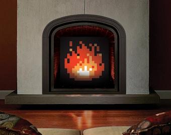 ORIGINAL 8-Bit Fireplace, Pixel Fireplace, Zelda Fireplace, Zelda Fire, Pixel Fire, Zelda Art, Zelda Fire Art, Pixel Art, Fireplace Art