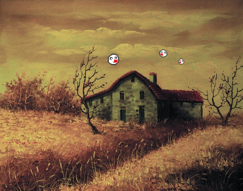 Super Mario World Boo's Altered Thrift Store Art image 0