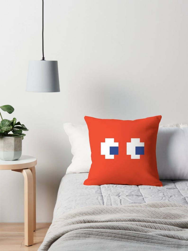 Pac-Man Double Sided Ghost Pillow Atari Video Game Blinky image 0