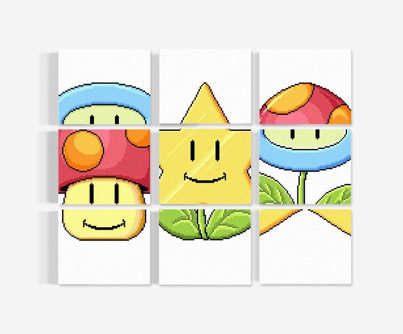Super Mario Match / Super Mario Wall Decor / Kids Room Decor / image 0