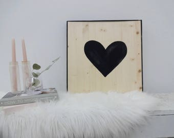heart black and white wood sign