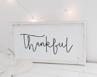 thankful black and white wood sign