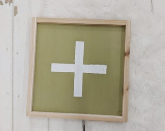 swiss cross // green and white wood sign