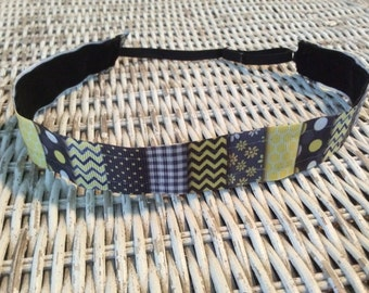 Black Yellow Chevron Headband - Girls No Slip Headband