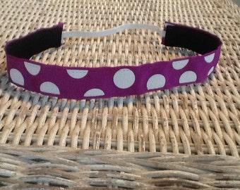 Purple Polka Dot Headband - Sports Headband - Girls Headband - Adjustable Headband - No Slip Headband - Adult Headband - Kids Headband
