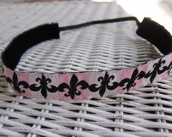 Pink Fleur de lis Headband - Women's Fashion Headband
