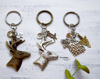Keychain with deer head in brass, Keychain with deer head in silver wolf silver, men's keychain, Father's Day gift, bird arrow camp sign