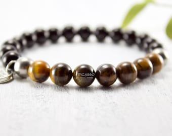 Tiger eye and onyx bracelet, Men's bracelet, Stretch bracelet, Stainless steel, Semi-precious, Dad gift, Boho chic, Husband gift, Friend