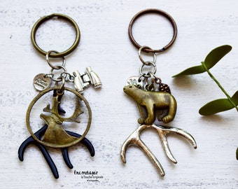 Keychain with silver or black deer horn, brass bear and deer, Spotting scope and pine cone, Father's Day gift, Hunter gift, Keyrings for men