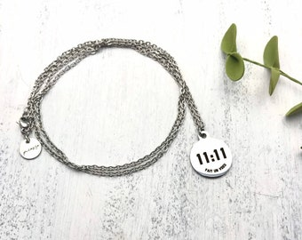 """Necklace """"Make a wish"""", 11:11, Belief, Luck, Lucky charm, Stainless steel, Laser engraved, Make a wish, Birthstone, Gift, Gift for friends"""