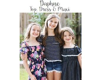 Daphne Top, Dress & Maxi PDF Sewing Pattern 1/2- 14