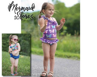 Mermaid Shores Collection- Lainey Swimsuit PDF Pattern instant download Sizes 1/2-14years