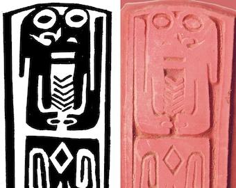 Afrikanischen Stammes Schamane Schild Design-Stempel-Werkzeug für PMC, Polymer Clay, Textilien & ScrapBooking - afrikanische Stammes Schamanen-Design-Stempel-Werkzeug