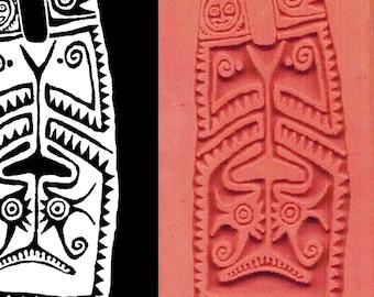 Neuguinea Maori Stammes Schild Design-Stempel für Clay PMC Textilien und Scrapbooking - Maori Anhänger-Design-Stempel-Werkzeug - Stammes Schild Stempel