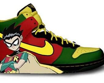 Custom Painted Batman and Robin Shoes