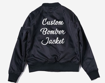 Customizable personalized lightweight bomber jacket - bomber jacket - custom jacket - custom bomber jacket - graphic jacket - black bomber QKMB2p