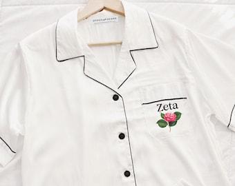 bid day wedding pajamas floral pajamas rush gift sorority Zeta Tau Alpha custom floral pajamas women/'s pajamas sorority recruitment