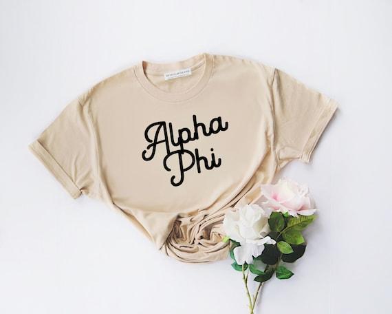 greek apparel gifts for rush Alpha Phi Shirt recruitment Aphi shirt bid day sorority rush Alpha Phi APhi custom sorority shirts