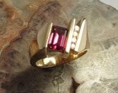 14KYG Rhodolite Garnet Diamond Ring Size 6.5 5x7mm 1.22ct AAA Rhodolite Garnet 5 Natural Diamonds .14ct. Artisan Unique Statement Ring