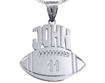 Football Sport Charm - 1.25 inch Football - Personalized Football - Custom Football with Name and Number - Sterling Silver - Made in USA