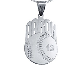 Personalized Baseball Charm 1.25 inch Personalized Baseball Pendant - Customized Baseball with Name and Number - Sports Gifts - Made in USA