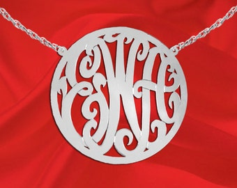 Monogram Necklace - 2 inch Sterling Silver Handcrafted Designer Personalized  Initial Necklace - Made in USA
