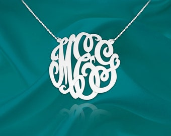 Monogram Necklace - 1 inch monogram necklace sterling silver - Personalized Monogram - Custom Monogram - Initial Necklace - Made in USA
