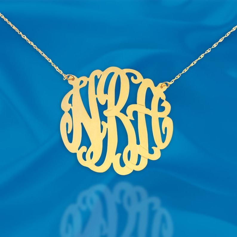 Monogram Necklace  1.25 inch Custom Monogram  24K Gold image 0