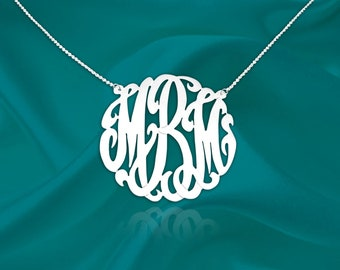 Original Monogram Necklace - Monogram Initial Necklace - Sterling Silver - Personalized Monogram Jewelry - Gifts For Her - Made in USA