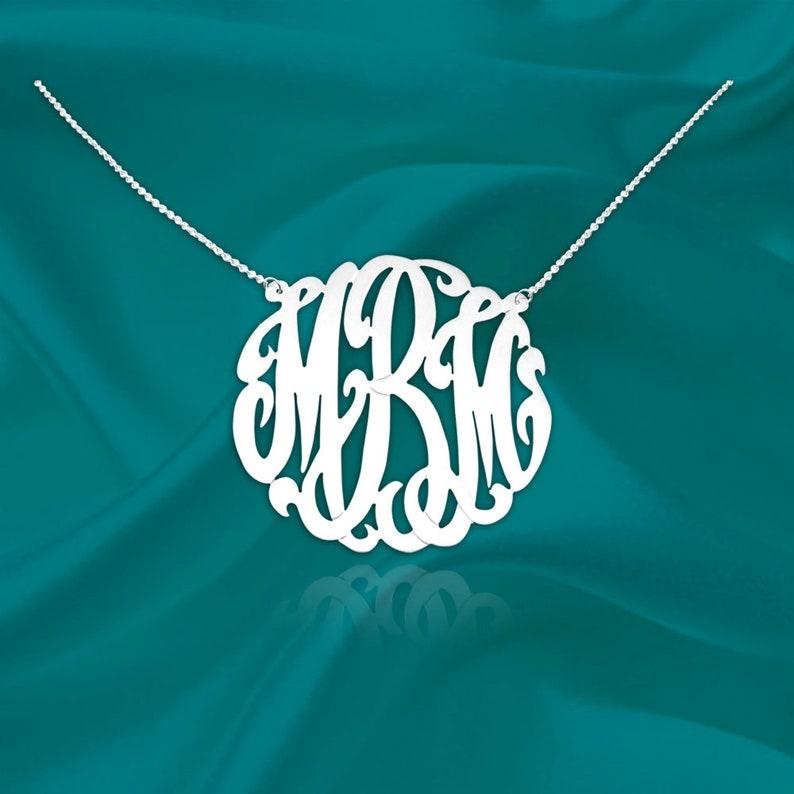 """Original Monogram Necklace  Monogram Initial Necklace  1"""" Monogram"""