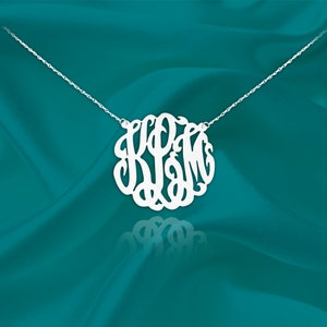 Monogram Necklace 1 inch Sterling Silver with Beaded Design Handcrafted Personalized Initial Necklace Made in USA