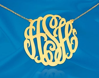 Classic Monogram Necklace - 1.5 inch 24K Gold Plated Sterling Silver - Handcrafted Designer - Personalized Initial Necklace - Made in USA