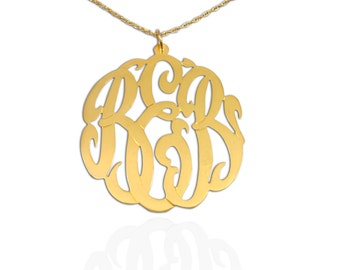 Monogram Pendant   - Handcrafted Designer - 24K Gold Plated Sterling Silver - Personalized Monogram - Initial Necklace - Gifts - Made in USA