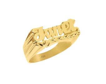 Name Ring - 24K Gold Plated Sterling Silver Personalized Ring - Customized Name Ring - Name Band - Your Name Size 4 thru 12 - Made in USA