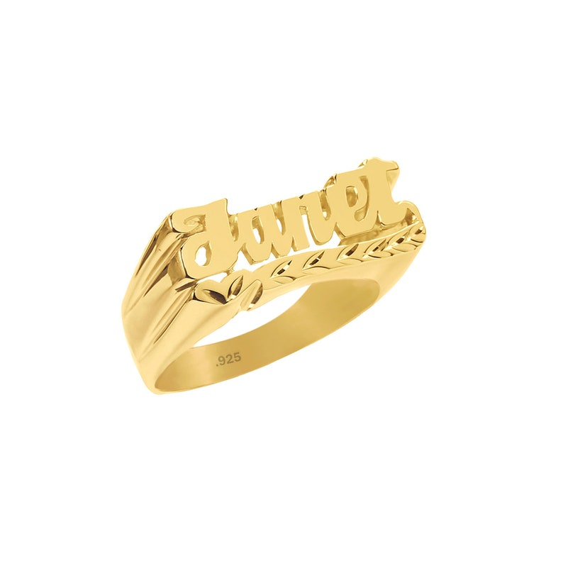 Name Ring 24K Gold Plated Sterling Silver Personalized Name image 0