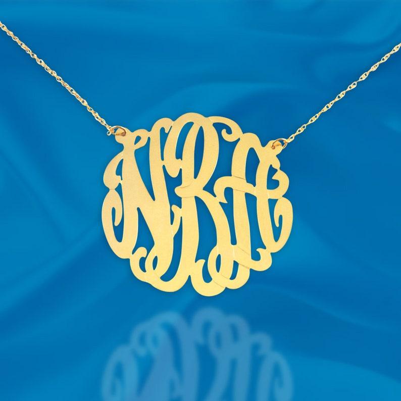 Monogram Necklace Handcrafted Designer  24K Gold Plated 24K Goldplate Silver