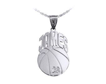 Basketball Charm 1.25 inch - Handcrafted Designer - Personalize Basketball with Name and Number - Sterling Silver - Sports Gifts Made in USA