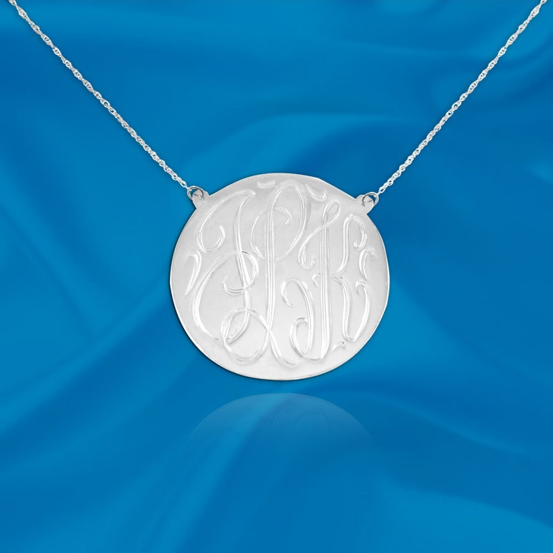 Monogram Disc Necklace  .75 inch Sterling Silver  Hand image 0