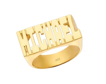 Name Ring 24K Gold Plated Sterling Silver - Personalized Name Ring - Custom Name Ring with Name of Your Choice Size 4 thru 12 - Made in USA