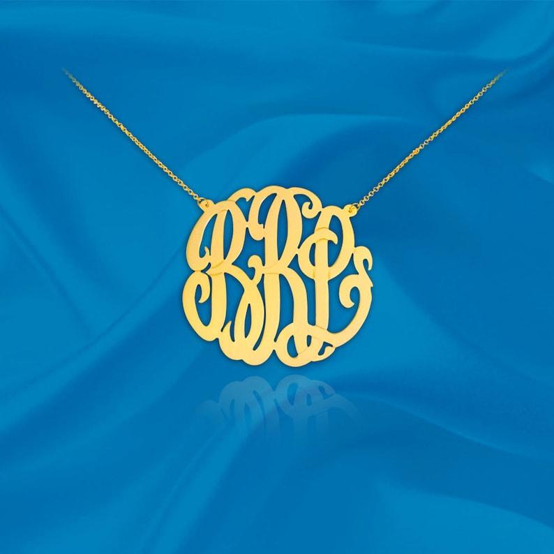 "Monogram Necklace 24K Gold Plated Sterling Silver  1"" monogram"