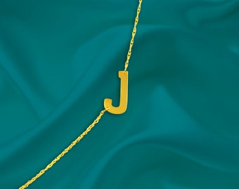 Sideways Personalized Letter Necklace  - 24K Gold Plated Sterling Silver - Name Initial Necklace - Gold Letter Necklace - Made in USA