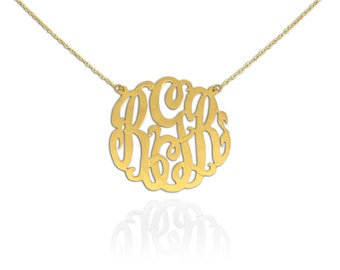 14K Yellow Gold Monogram Necklace - .75 inch - Handcrafted Designer - Personalized Initial Necklace - Made in USA